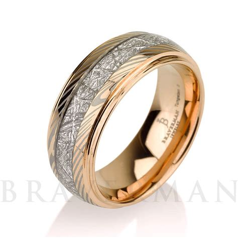 mokume meteorite wedding band tungsten meteorite ring 14k