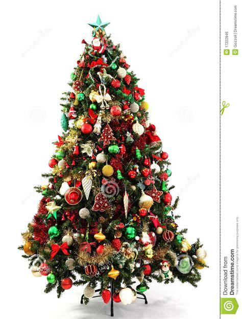 weihnachtsbaum gr 252 n rot und gold lizenzfreies stockbild