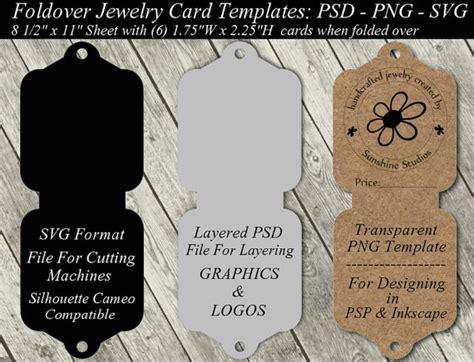 earring card holder template templates for tickets tags jewelry card template available in svg cutting file layered
