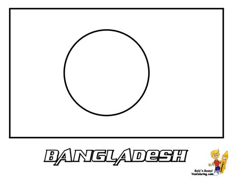 The First Flag Of Bangladesh   Free Coloring Pages