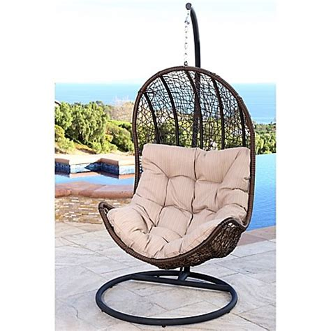 Abbyson Living 174 Newport Outdoor Wicker Egg Shaped Swing Swinging Patio Chairs