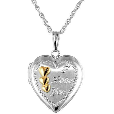 locket necklace with i you in sterling silver