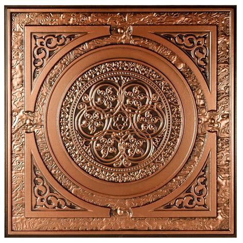 copper ceiling tiles udecor montroy 2 ft x 2 ft lay in or glue up ceiling tile in antique copper 48 sq ft