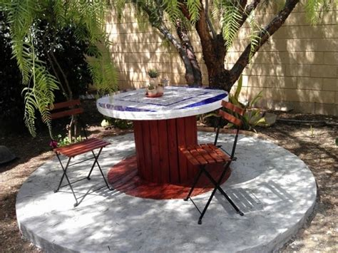 backyard table wooden cable spool table 40 upcycled furniture ideas