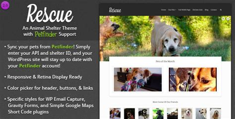 Rescue Animal Shelter Theme Petfinder Support By Designcrumbs Themeforest Rescue Website Template