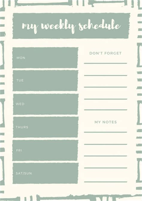 Canva Weekly Planner | weekly schedule planner templates canva