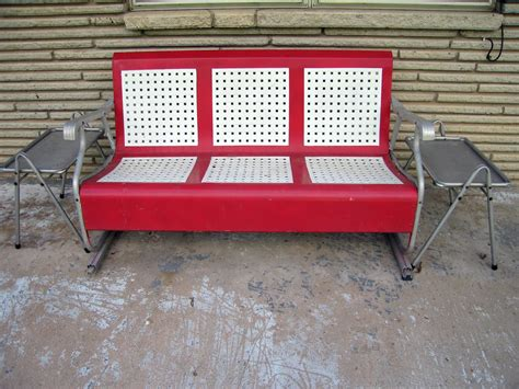 retro glider bench backyard ideas vintage glider chairs red metal glider