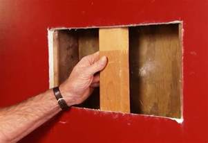 fix in wall steps to patch large holes in wallboard at the home depot