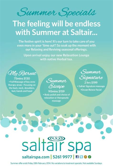 spa specials saltair day spa summer specials arrived saltair spa