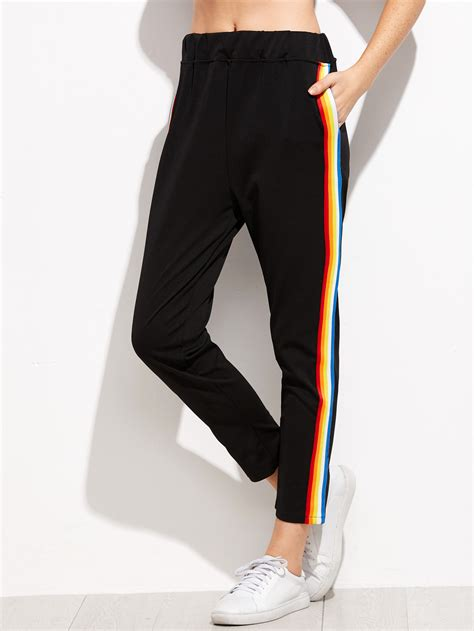 Striped Sweatpants black rainbow stripe side