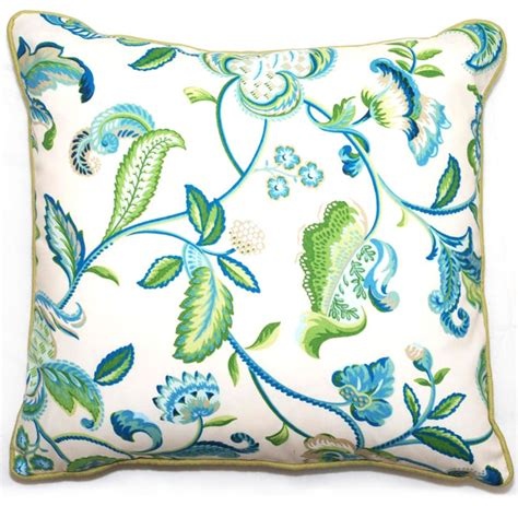 green blue floral outdoor living throw pillow 18 inch