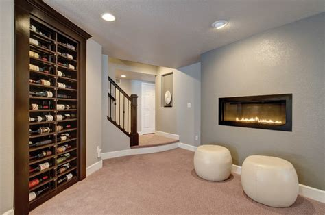 basement wine rack fireplace transitional wine