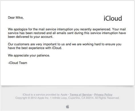Apology Letter To A Customer Exle Apple Sends Emailed Apologies For Icloud Outage Mac Rumors
