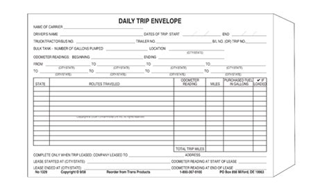 truck drivers trip sheet template 24 images of travel expense envelope template kpopped