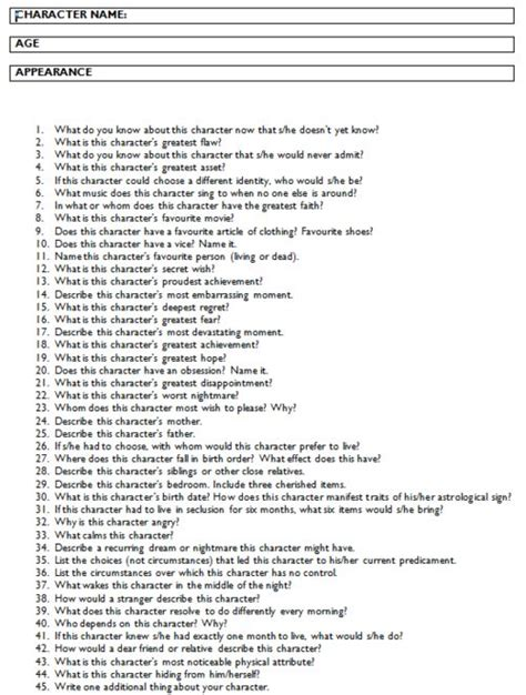 Character Building Worksheets For Writers by Answer All These Questions And You Should A Fully