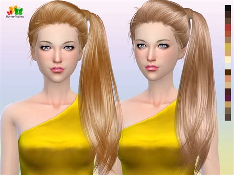 side ponytail sims 3 sims 4 hairs butterflysims side ponytail hair 164