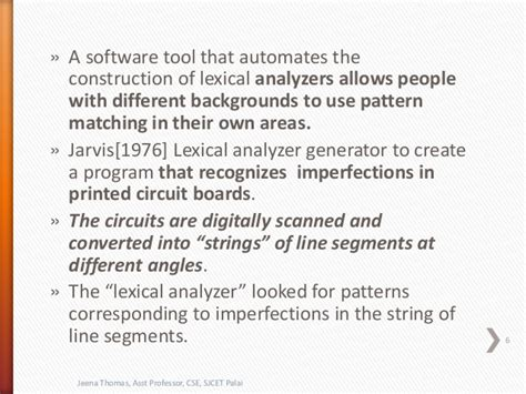 pattern in lexical analysis lexical analysis compiler design