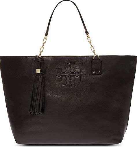 burch leather bag burch pebbled leather tote bag in black lyst