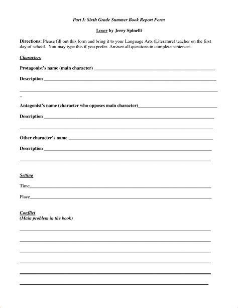 Book Report Templates 6th Grade 5 Book Reports For 6th Gradereport Template Document