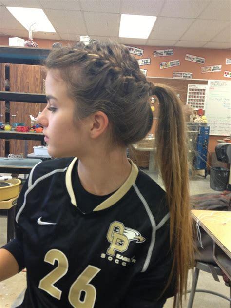 sport hairstyles pinterest braided hair softball sports softball hairstyles