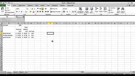 vat calculations in excel youtube
