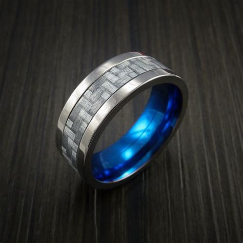 Anting Ring Titanium Silver 1 titanium ring with silver texalium inlay with carbon fiber style weave revolution jewelry