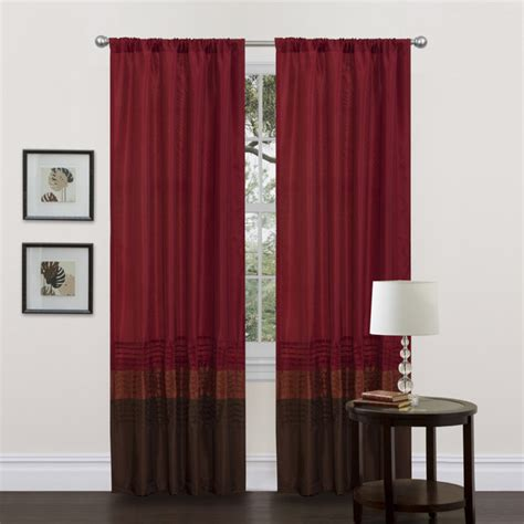 red brown curtains lush decor mia brown red pieced 84 inch curtain panel pair