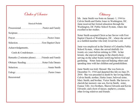 obituary for funeral program exles