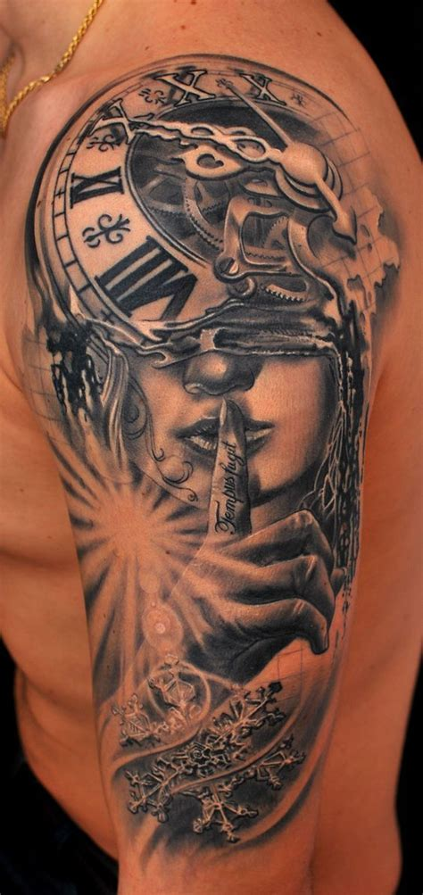 new tattoo vitamin e surrealistic clock with woman portrait sleeve tattoo