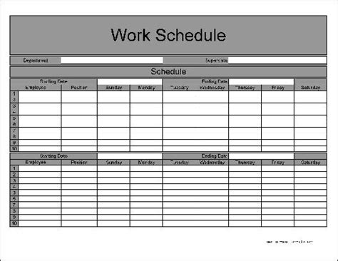 free numbered row biweekly work schedule from formville
