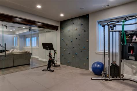 multifunctional contemporary family room  basement