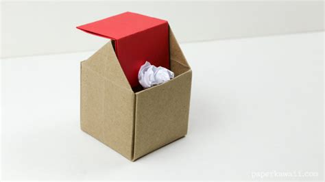 How To Make An Origami Desk - origami rubbish bin paper kawaii