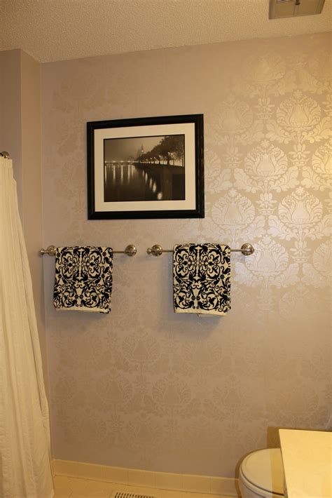 peahen pad guest bathroom wall stencil