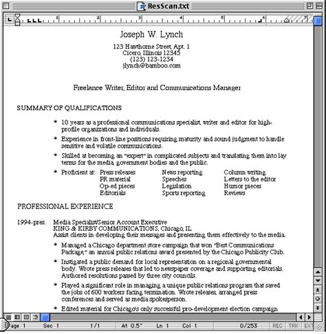 Resume Overview Exles by Scannable Resume Exle Exles Of Resumes
