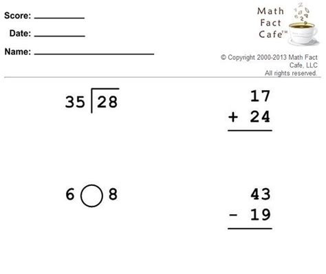 Math Facts Worksheet Generator by Math Cafe Worksheet Generator Math Fact Cafe 174 Official