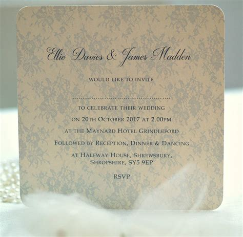 not on the high lace wedding invitations lace wedding invitation by beautiful day notonthehighstreet