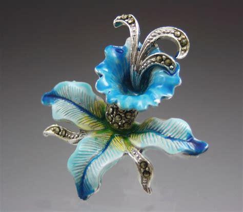 vintage blue orchid flower marcasite brooch with enamel paint and from vivienstreasurewonderland