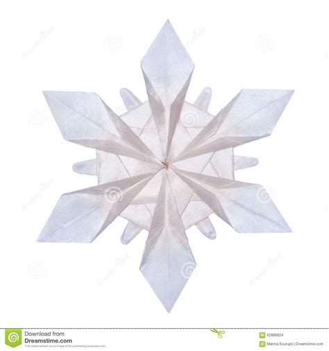 Snow Origami - origami snowflakes stock photo image of blue element