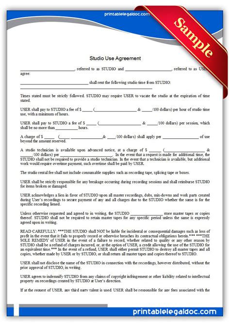 Free Printable Studio Use Agreement Form Generic Studio Rental Agreement Template