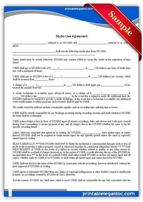 Free Printable Studio Use Agreement Form Generic Studio Contract Template