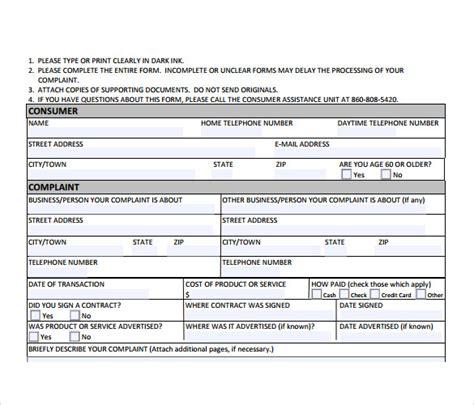 consumer complaint form 9 consumer complaint forms sles exles format
