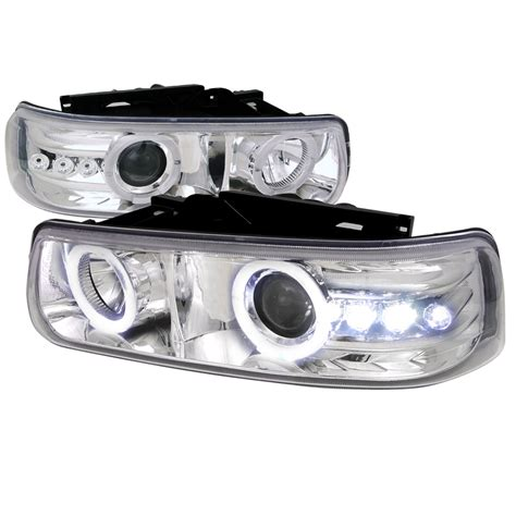 99 02 chevy silverado suburban tahoe eye halo led projector headlights chrome