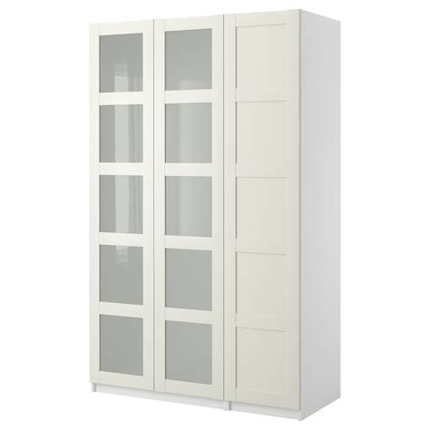 Pax Closet Doors Pax Wardrobe With 3 Doors Bergsbo Frosted Glass White White 150x38x236 Cm Ikea My