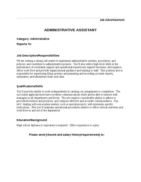 Resume Sample Language by Job Description For Administrative Assistant Hashdoc