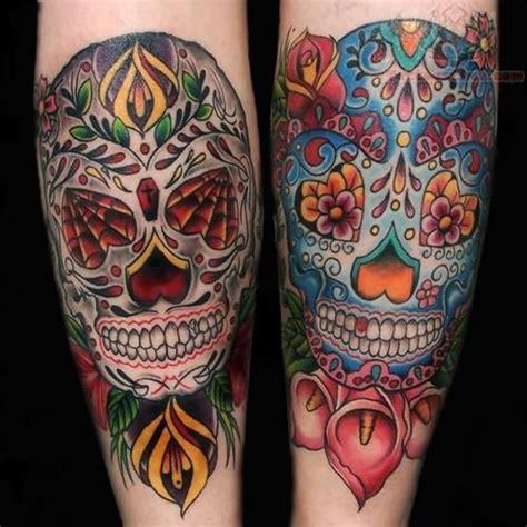 colorful skull tattoos colorful sugar skull tatttoo