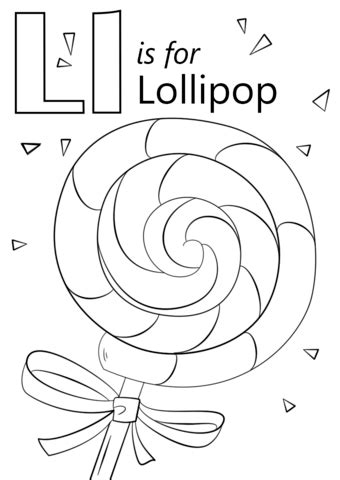 U Of L Coloring Pages by Letter L Coloring Pages Letter L Is For Lollipop Coloring
