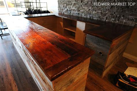 reclaimed wood counter top  waterdown ontario flower
