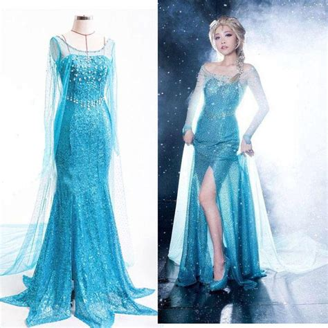 Lady Princess Elsa Dress Queen Costume Adult Tulle Maxi Elsa Gown Fancy Dress For Adults Cute