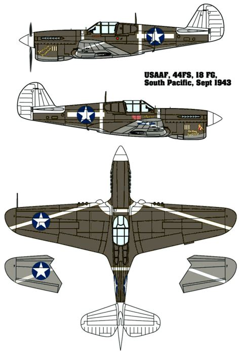 curtiss p 40f warhawk usaaf pacific camouflage color profile and paint guide