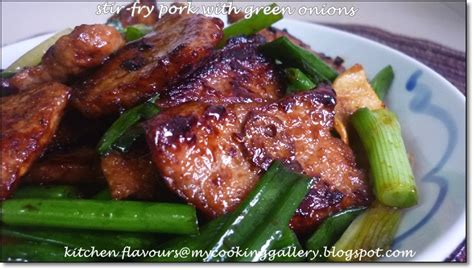 kitchen flavours stir fry pork with green onions
